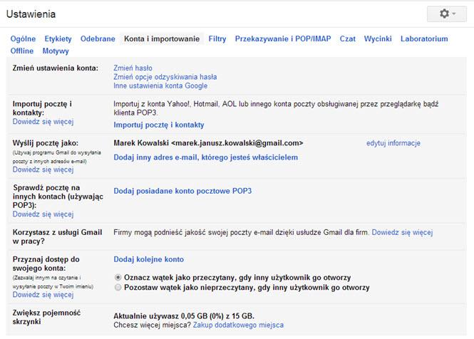 Gmail Konta i Importowanie