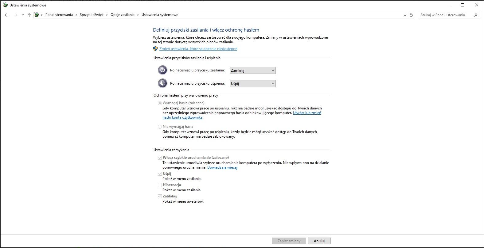 Opcje zasilania - Windows