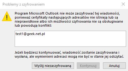 Outlook problemy z szyfrowaniem