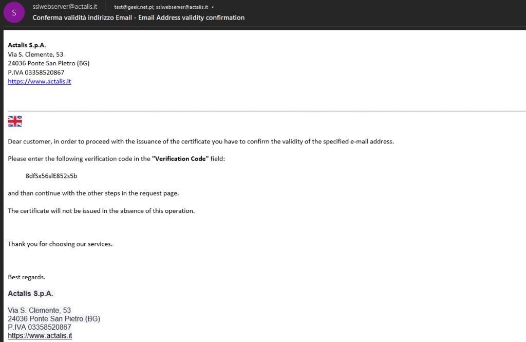 Email kod weryfikacyjny