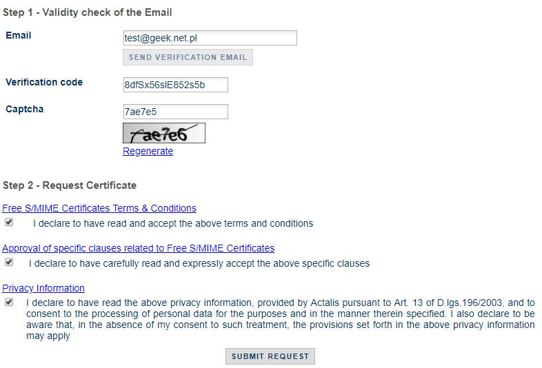 Generowanie certyfikatu